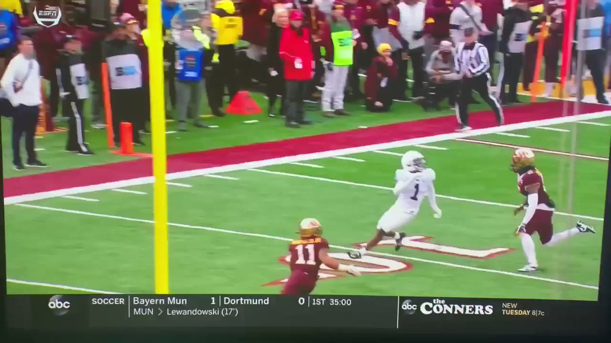 Not sure how pass interference was missed here. Really bad break for #PennState. #PSUvsMINN