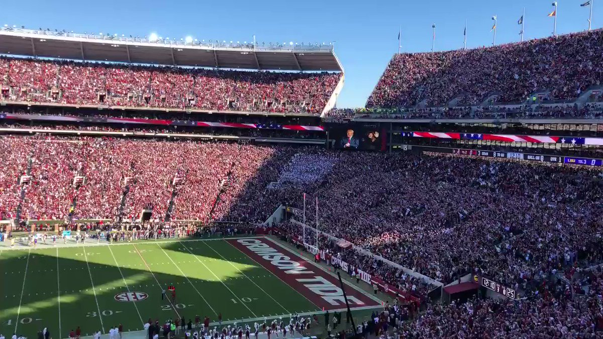 A couple people boo President Trump at the Nationals game in DC:  Media: BREAKING NEWS  The entire stadium cheering for President Trump at the LSU/Bama game:  Media: silent