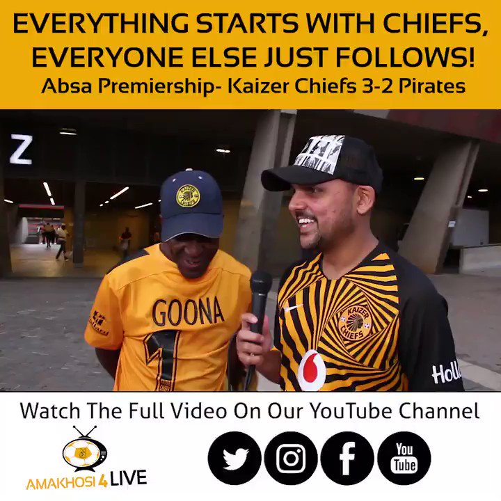 The league title is yet to be decided but Kaizer Chiefs fan Goona is still confident that they can take it in May, after they successfully beat Rhulani Pirates in the #SowetoDerby again #Amakhosi4Life #A4Ltv #AbsaPrem