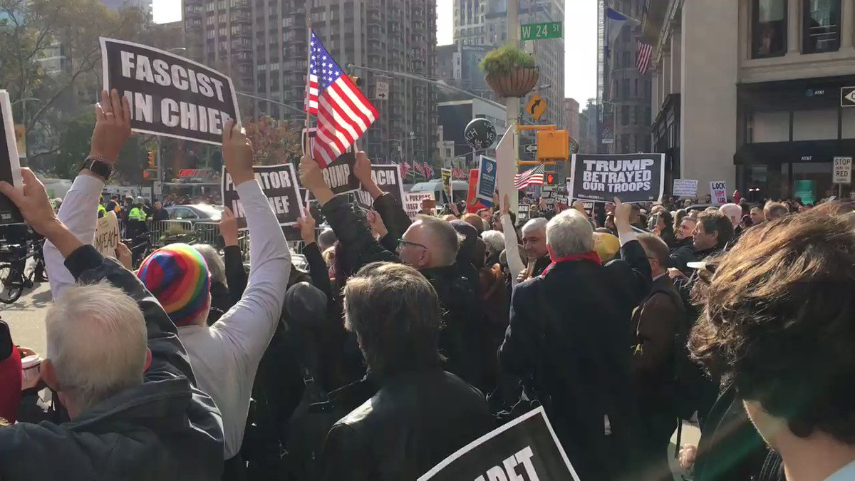 Wow thank to everyone who showed in NYC to protest Trump at the #VeteransDayParade!  The world needs to know that we fought for everything Trump is ripping apart. We will not be silenced or used as props by this traitorous administration.  #VetransDay2019