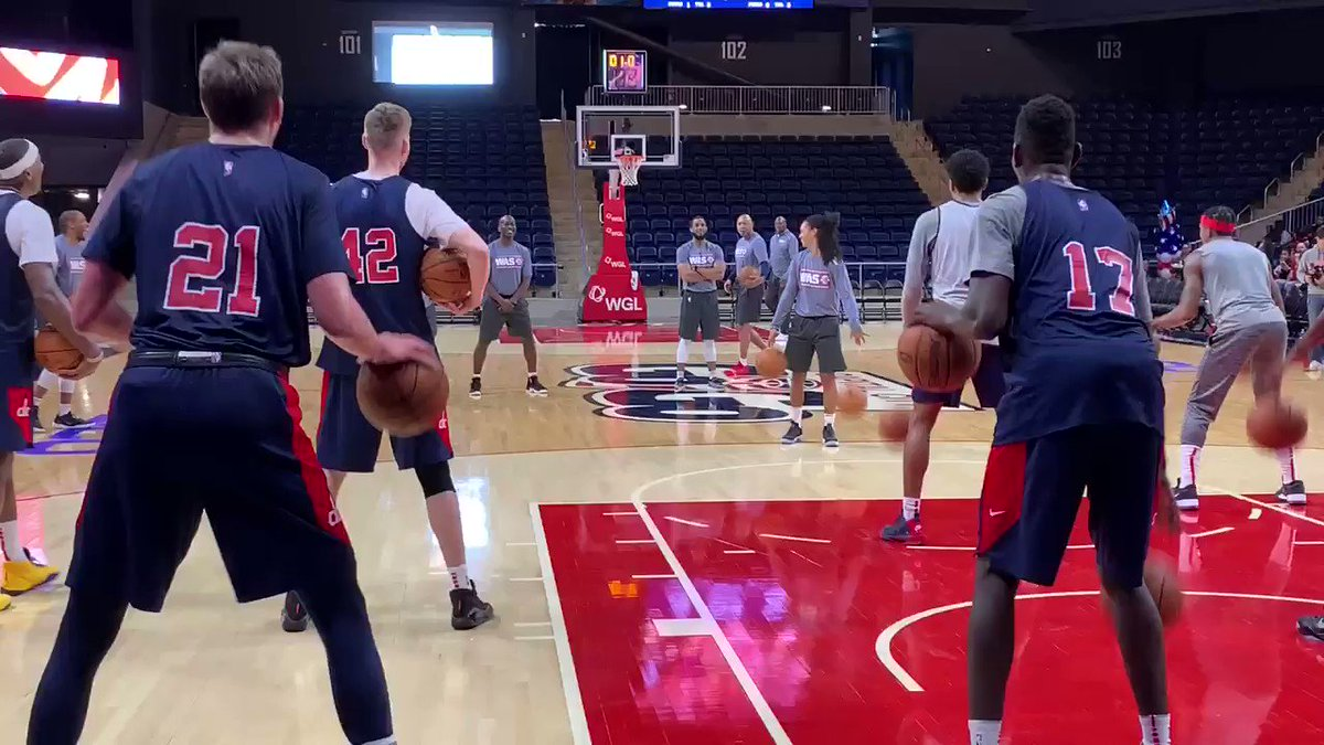 The champ is here. The Wizards played a video tribute to WNBA champ and assistant coach Kristi Toliver during practice today to welcome her back