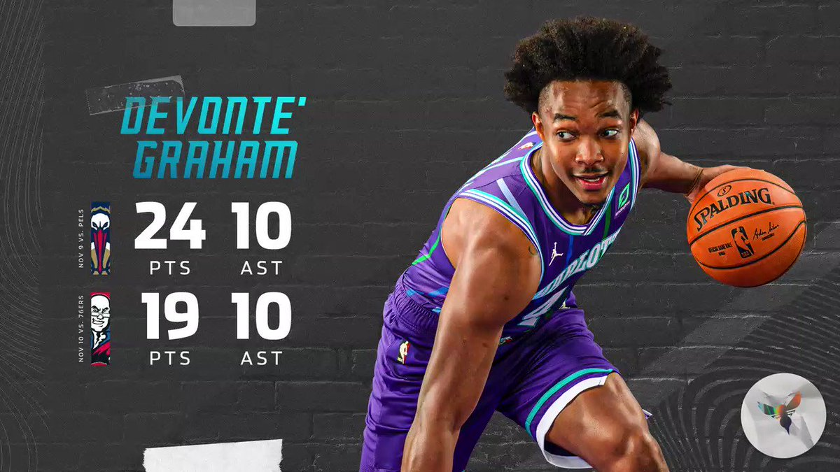 Back-to-back double-doubles for @Devonte4Graham  He is now the first NBA player to have consecutive games of 15 PTS and 10 AST off the bench since 2015  #AllFly