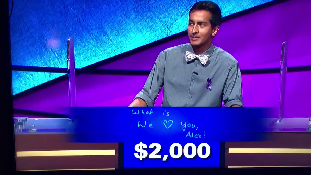 Alex Trebek getting choked up during Final Jeopardy today messed me all the way up. #Jeopardy #WeLoveYouAlex