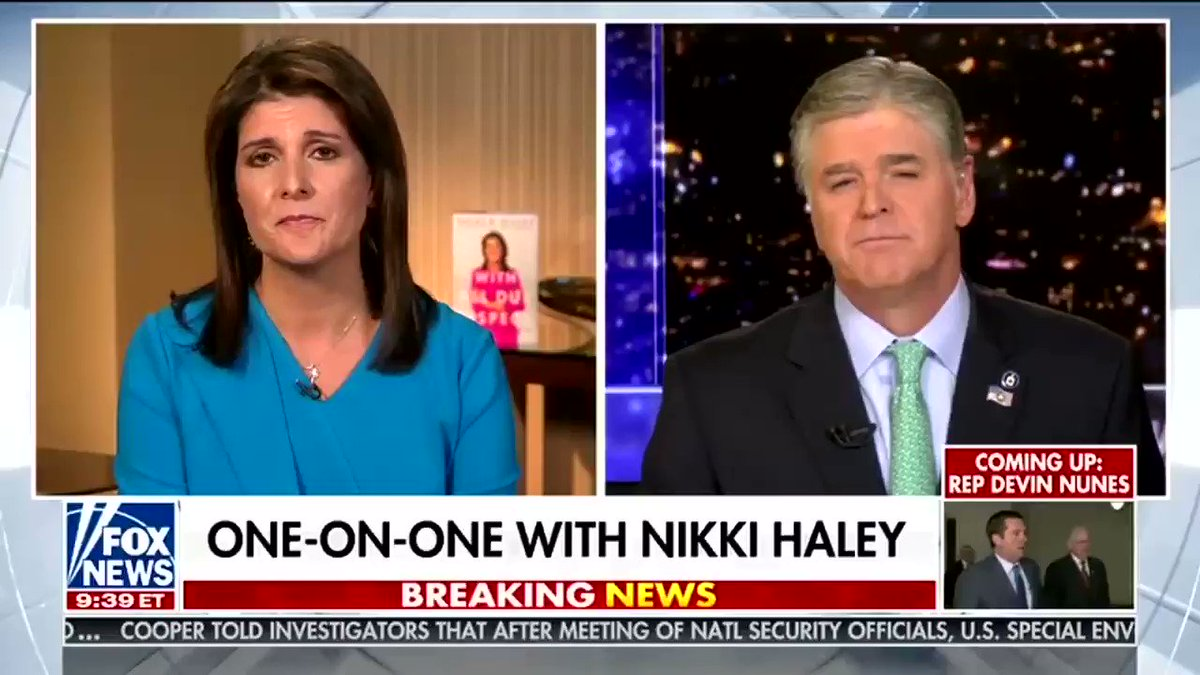 Replying to @Acyn: Nikki Haley appears on Hannity to audition for Mike Pence's job