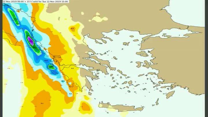 Το πέρασμα της κακοκαιρίας πάνω απο την χώρα μας. Δείτε ανά 3ωρο τα προβλεπόμενα ύψη βροχής , μέχρι και το μεσημέρι της Πέμπτης. Ποιές περιοχές θα επηρεαστούν. #EMY , #καιρός , #έκτακτο_δελτίο, @EmyEmk