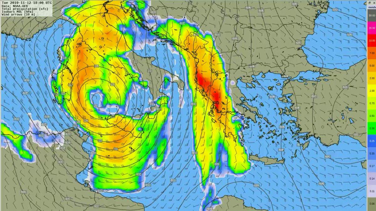 Καιρός: Τα ύψη υετού ανά 3ωρο πάνω από τον Ελληνικό χώρο. Πρόγνωση από τον @KolydasT news247.gr/kairos/epelasi…