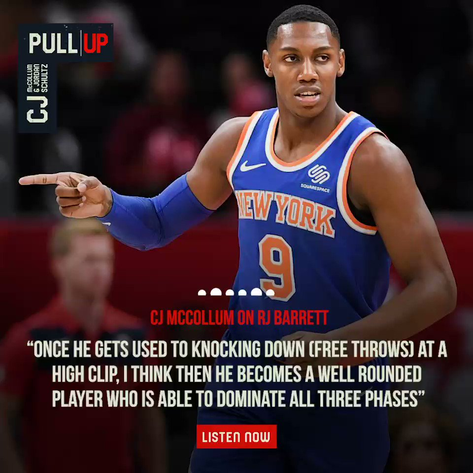 .@CJMcCollum and @Schultz_Report break down what theyve seen so far from Knicks rookie @RjBarrett6. Listen Now: apple.co/32DLqlY