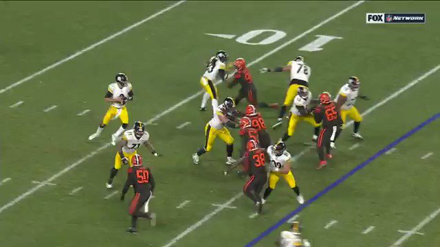 Here's the full play. Myles Garrett hit Rudolph with his own helmet. Maurkice Pouncey (#53) threw punches and a kick.