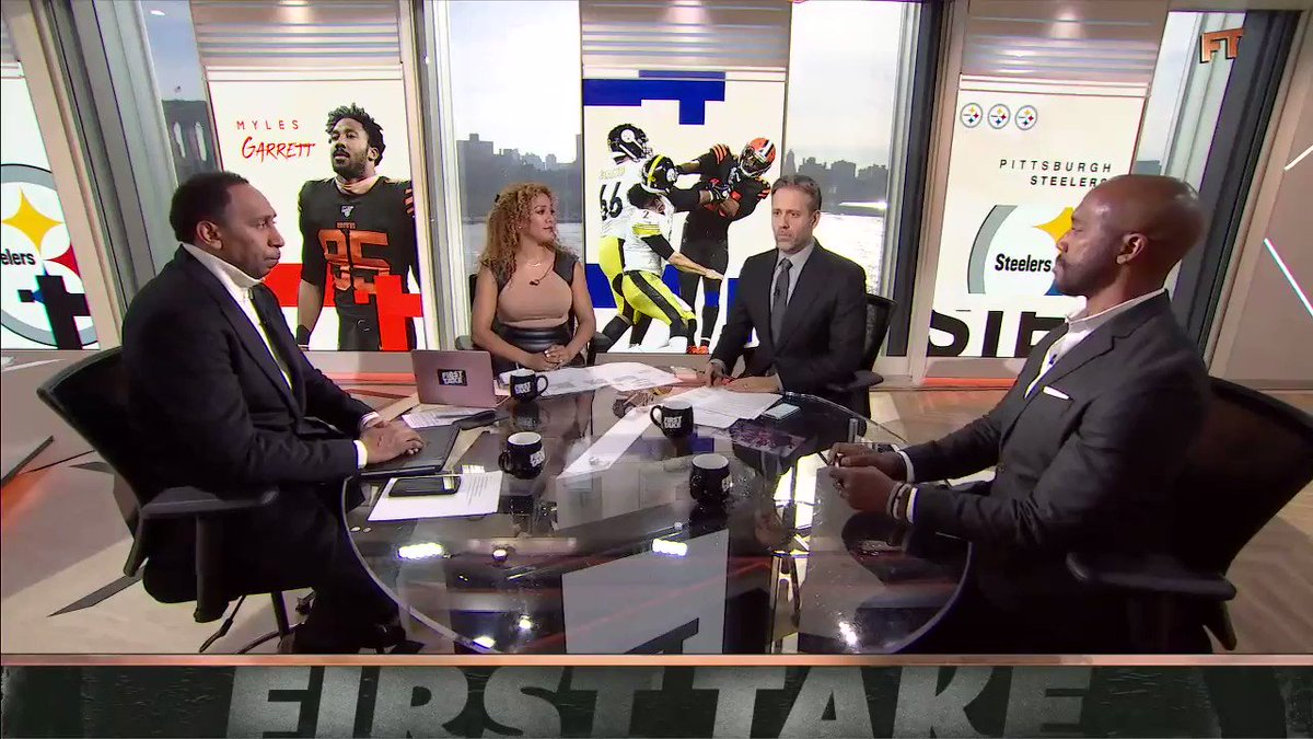 """""""[Mason Rudolph was the one who started the fight.""""  @maxkellerman thinks the reaction to Myles Garrett has been """"hysterical."""""""