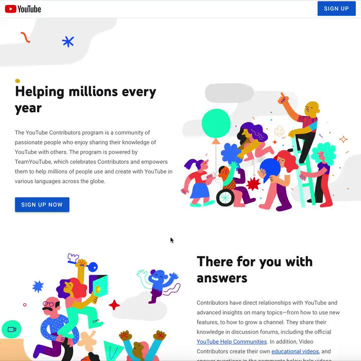 A big project I did with YouTube is finally LIVE!  Been so pumped to share this!!  I did all the illustrations for the new YouTube Contributors program!  I want to share some thoughts and process with you.   THREAD!! :)