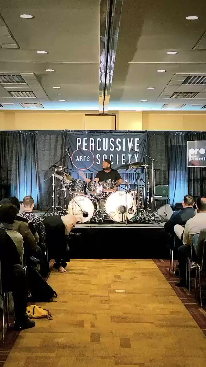 @keiostroud of the band @bigandrich on #drums at @PASIC 🤘🏻🥁 Keio was one of our celebrity #drummers at #Drummathon2017! He's killing it up there! #PASIC19 #NeverNotWorking