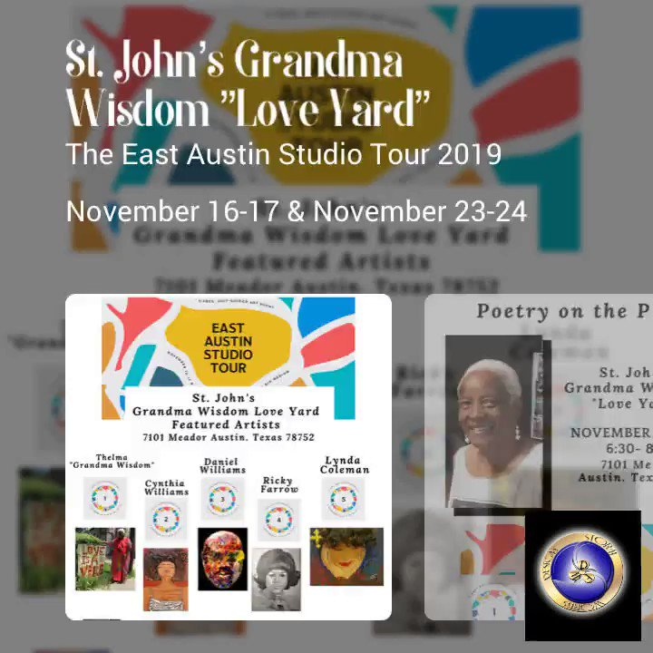 "Tomorrow: the East Austin Studio Tour Begins! Come out to theSt. John's Grandma Wisdom ""Love Yard"" #eastaustinstudiotour #austin #texas #art #artist #artistic #artwork #illustration #color #painting #drawing #creative #pencil #beautiful #danielwilliams #stormworksdesigns #poetry"