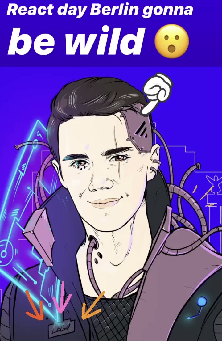 WHOAAA 😮😮 hopefully this is what Ill look like when React for cyborgs finally drops 🤖 @reactdayberlin conference art is next level (thanks so much 💙) !!! Ill be talking about web support and some new @expo projects Ive got cooking up December 7th 💯 reactday.berlin