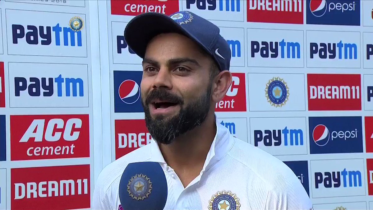 On being asked about his gesture to @mayankcricket to go for his double ton, here's what @imVkohli had to say👌