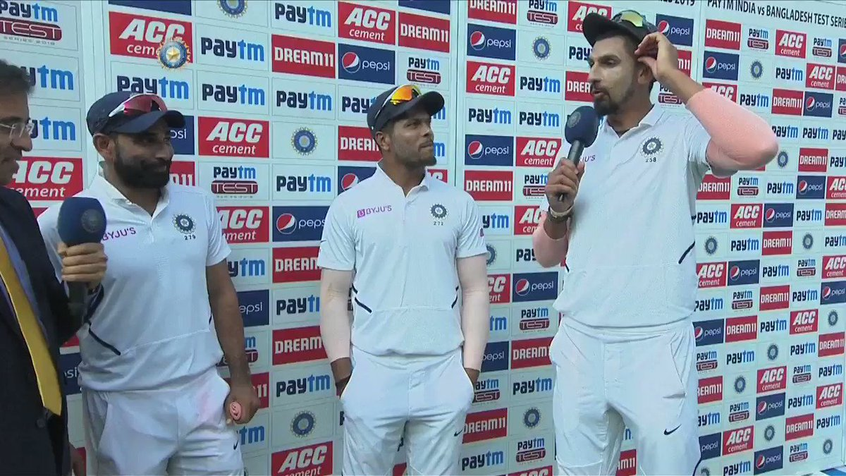 Ahead of the pink ball Test, Ishant Sharma seeks advice from Mohammed Shami. Funny banter between the two 😀Full interview 👉👉https://www.bcci.tv/videos/138052/ind-vs-ban-2019-1st-test-day-3-mohammed-shami-ishant-sharma-umesh-yadav-interview…
