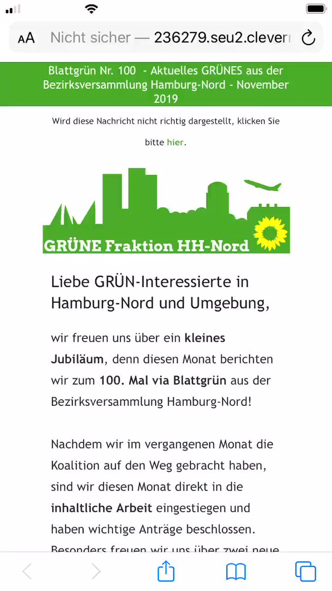 💯. Ausgabe BLATTGRÜN! Mit #Ehrenamt, #Stadtteilkultur, weniger #Lärm und mehr #Verkehrssicherheit in #Barmbek, #Winterhude, #Langenhorn und auf dem #Dulsberg. #GrüneNord http://236279.seu2.cleverreach.com/m/11661423/