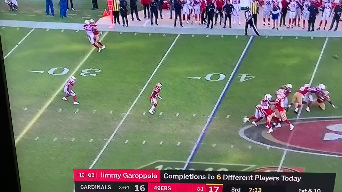 Kyle Juszczyk (#44) literally tackled #Cardinals LB Joe Walker (#59) and the refs threw the flag on... Walker  🤦♂️   (via @WillBrinson)