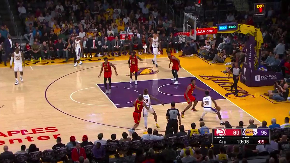 I swear LeBron has 👀 in the back of his head...  😳🤯😤🎯💪 #ATLvsLAL