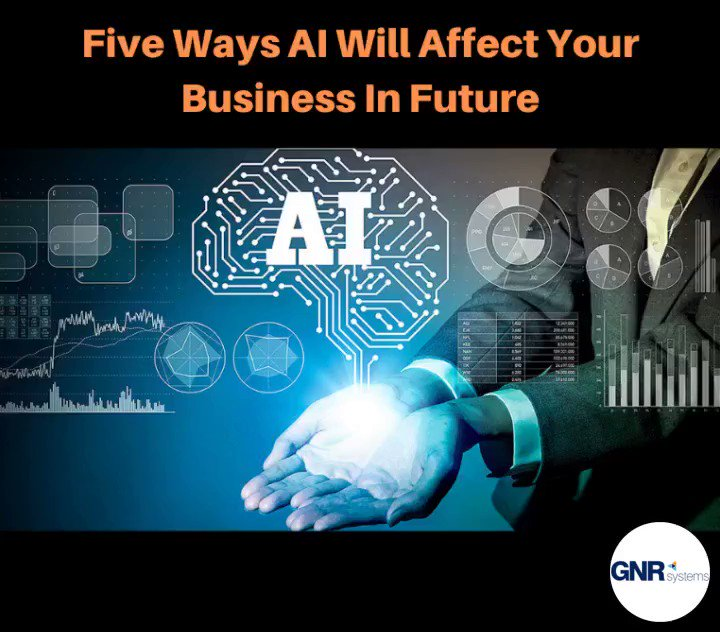Five Ways That #ArtificialIntelligence Will Affect Your Business In Future.#machinelearning #business #cybersecurity #bigdata#serviceprovider #businessinteligence #datascience #deeplearning #marketingLearn More: https://lnkd.in/gbM6xfU#GNRSysTalks @GNRSystemsInc