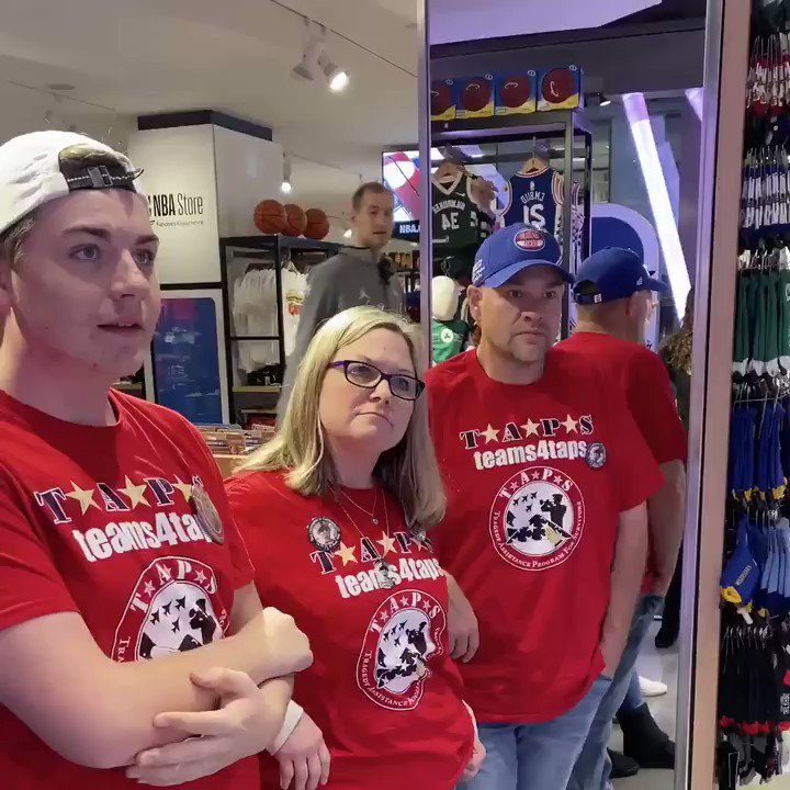 The NBA and @TAPSorg invited the Hann family to the @NBASTORE for a surprise visit from @CodyZeller in celebration of @nbacares Hoops For Troops Week!