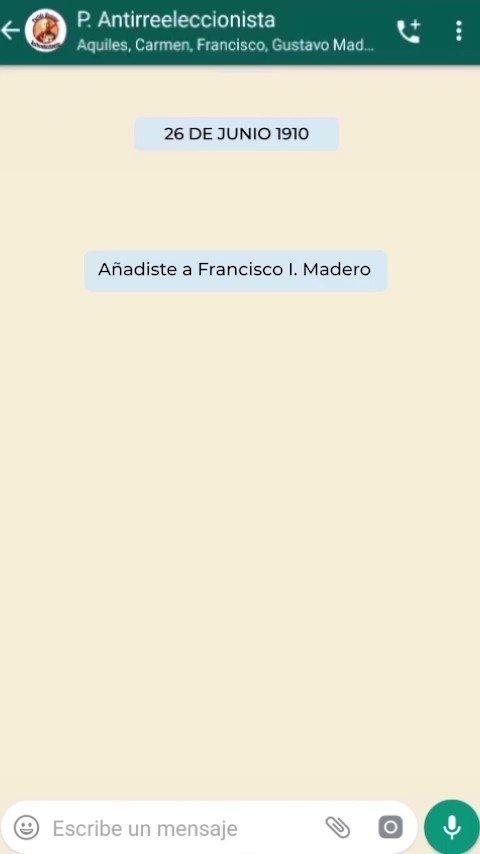 El Partido Nacional Antirreeleccionista postuló a Madero como candidato presidencial contra Díaz, quien se reelige por 7° vez. En Puebla, los hermanos Serdán sacrifican su vida en favor de la lucha revolucionaria.  Este chat es un homenaje al inicio de la gesta heróica.@LyCamacho