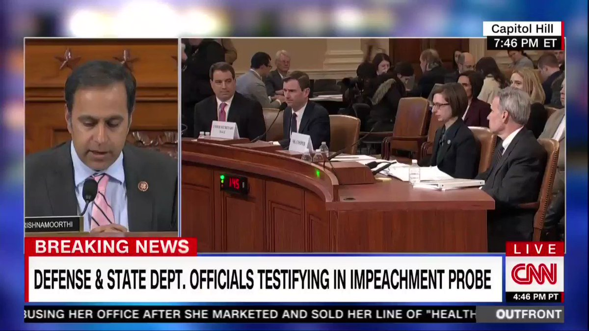 WATCH: Another GOP defense of Trump bites the dust. Hale and Cooper both testify that Trump withholding aid had NOTHING to do with assessing if Zelensky was legit.