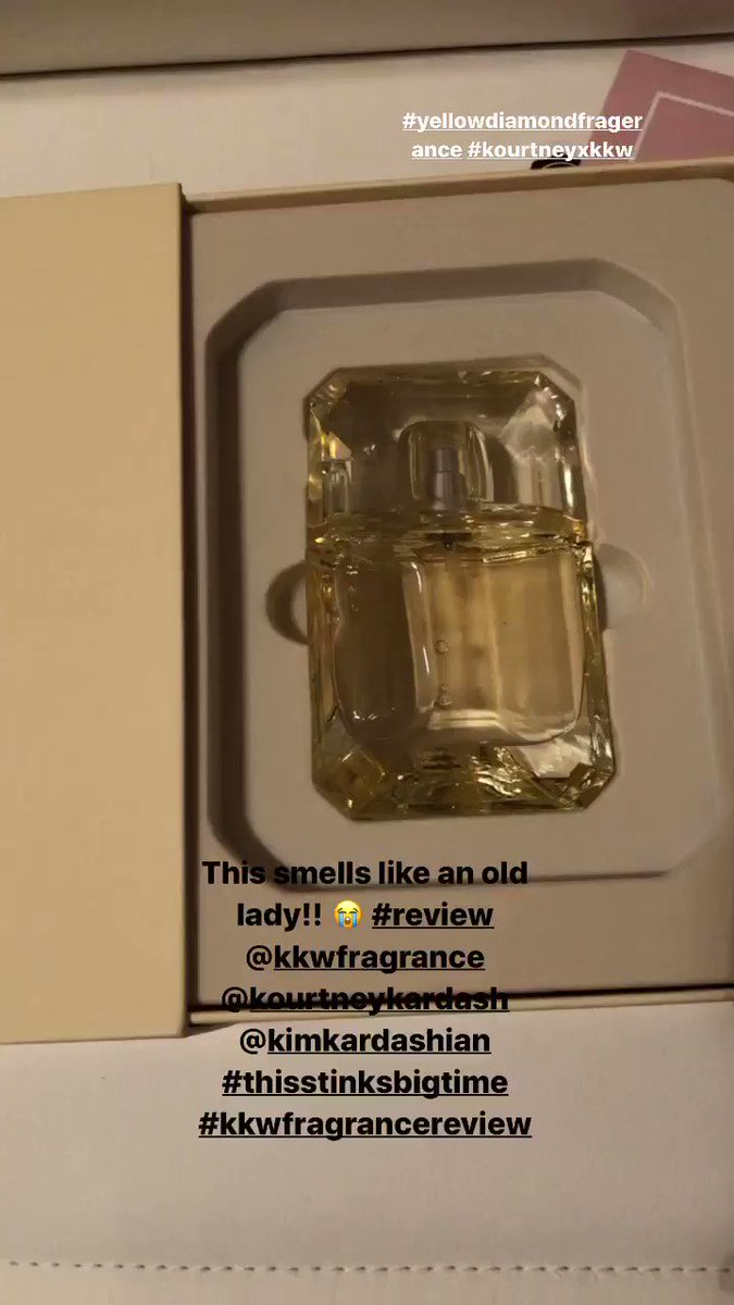 I just got this in the mail today and I hate it! I own 6 other fragrances from you @KimKardashian  and this one that @kourtneykardash  created smells like an old ass lady! I have to return this! I'm crying bc I was so excited! #kkwdiamonds  #kkwfragrance