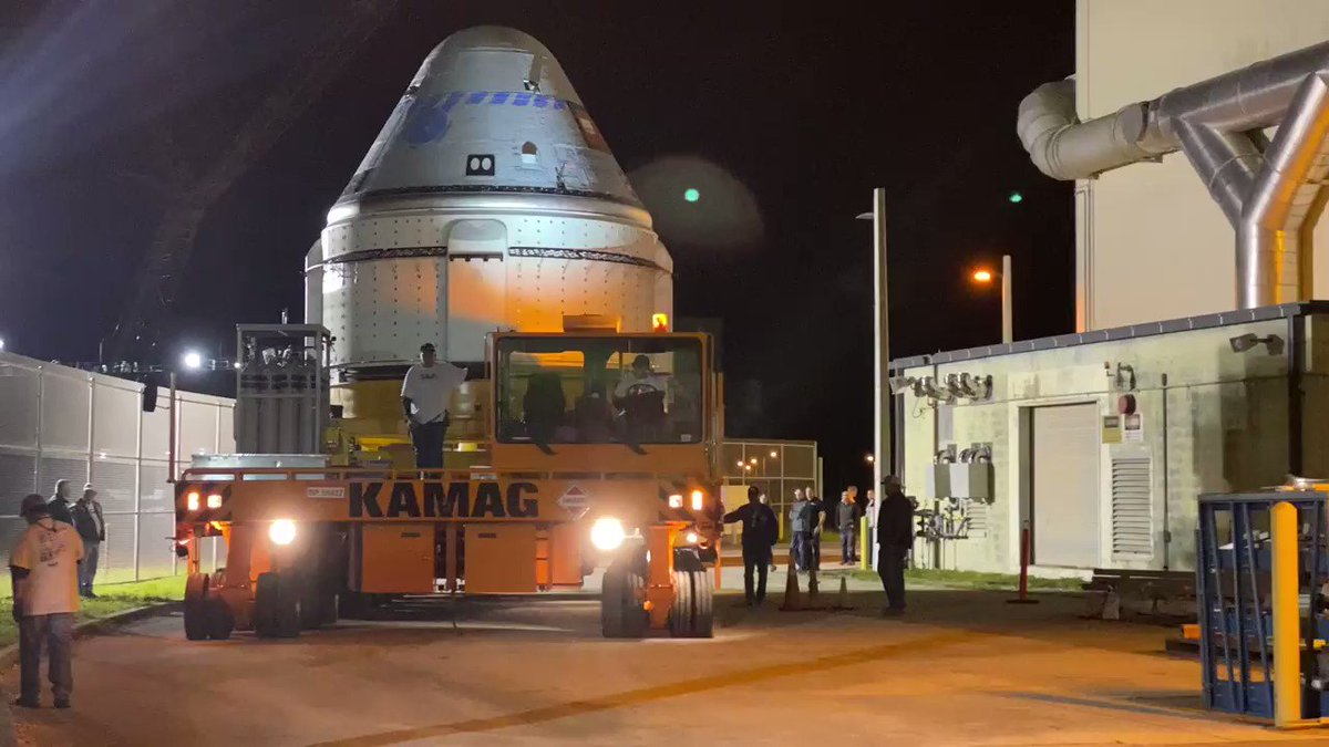 This is our first small step as #Starliner rolls out of the factory to get ready for transport to @ulalaunch, where it will be mated to the #AtlasV rocket for the journey 240 miles above Earth to @Space_Station.