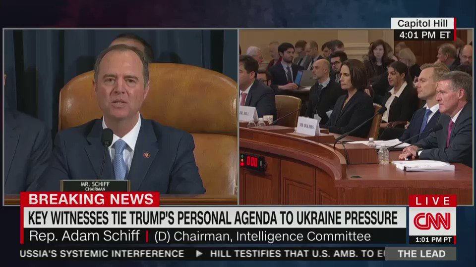 """""""They don't question the facts.""""  Watch this key moment from @RepAdamSchiff, because it sums up the entire situation:  Republicans don't question the facts of Trump's bribery scheme because THEY CAN'T. They know that Trump committed impeachable offenses. They just don't care."""