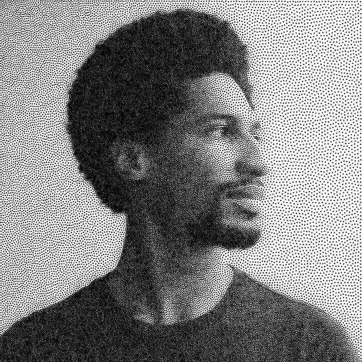 Implemented real-time Weighted Linde-Buzo-Gray Stippling in #TouchDesigner. I used a #GLSL compute shader to calculate the centroids of each cell. I used an atomic counter to do the seed splitting. Photo of @JonBatiste