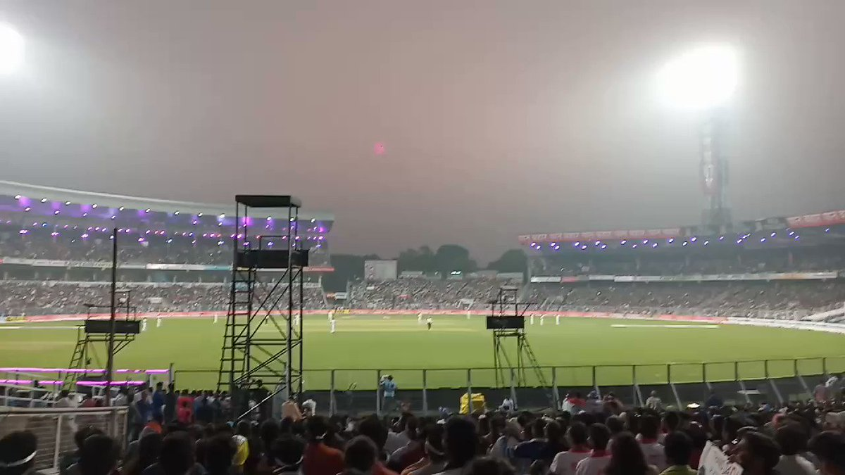 Mexican Wave in the Mecca of Cricket.What a terrific atmosphere for the very first pink ball test match in India.#IndiaVsBangladesh#PinkBallTestMatch#ABP#cnbc#news18india#IndiaToday#NDTV#EdenGardens#DayNightTest#pinktest#PinkBallTest – at Eden Garden