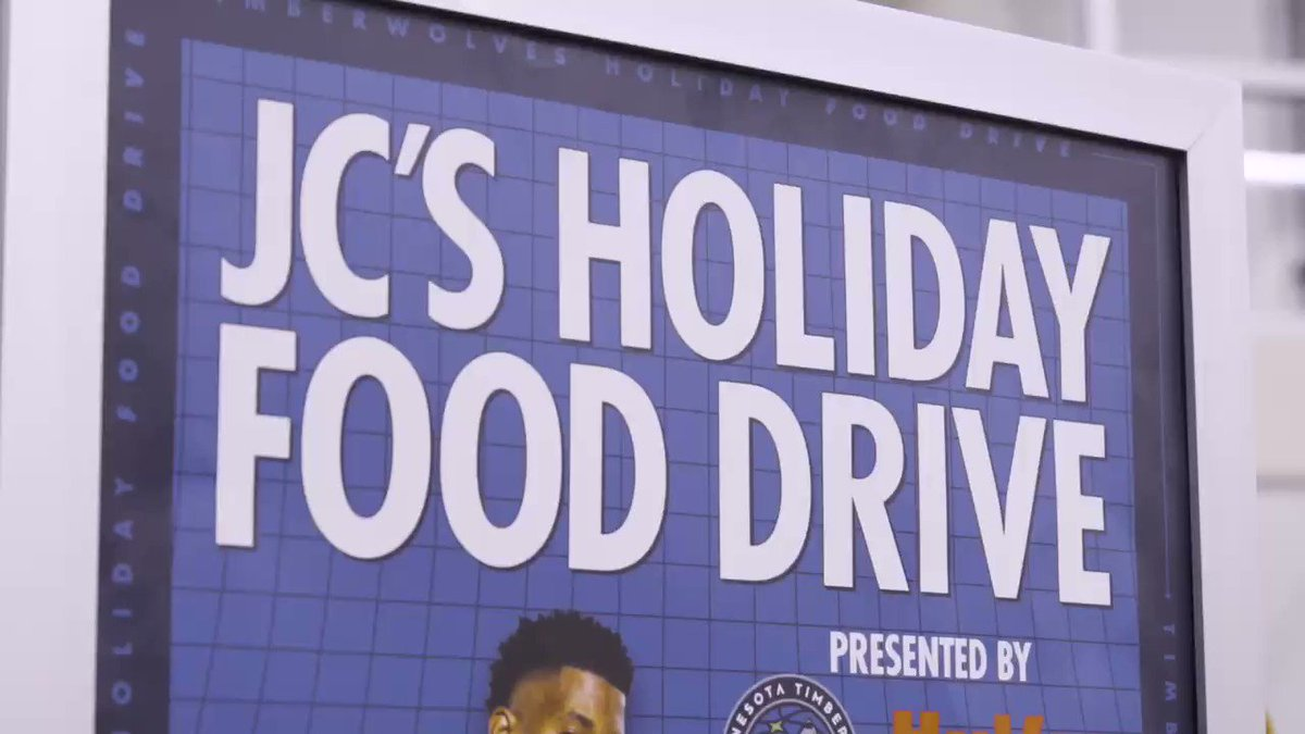 Yesterday we kicked off the JC Holiday Food Drive benefiting @2harvest! Make sure to drop off non-perishable food items at any Twin Cities Hy-Vee now through December 1st. Help me, @timberwolves and @Hyvee make a difference this holiday season!