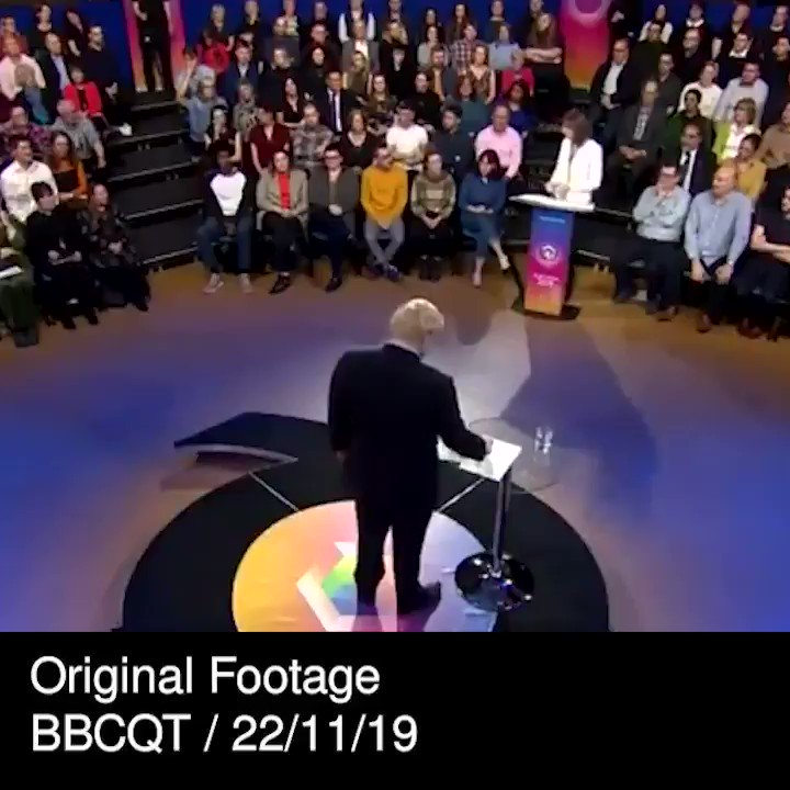 This is utterly extraordinary.   @BBCNews has edited out the audience laughing at Boris Johnson being questioned on trust.   The first part is from last night's debate, the second is from BBC News at 1pm today.   #ge2019