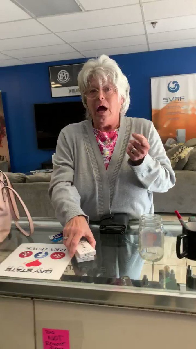 this is a video I took the day before your emergency vape ban went into effect. A regular at the place I worked came in crying because she wasn't  going to be able to purchase vape products in MA anymore. @MassGovernor @SenJohnFKeenan #QuitLying #vapingsaveslives #WeVapeWeVote
