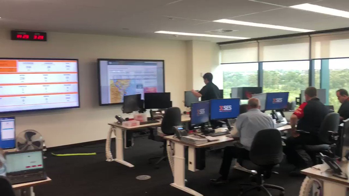 The State Operations Centre is in full swing this afternoon. The @NSWSES dealing with numerous storm related incidents across #sydney and #NSWRFS with now more than 110 fires across the state, many as a result of the lightning with the recent storms.