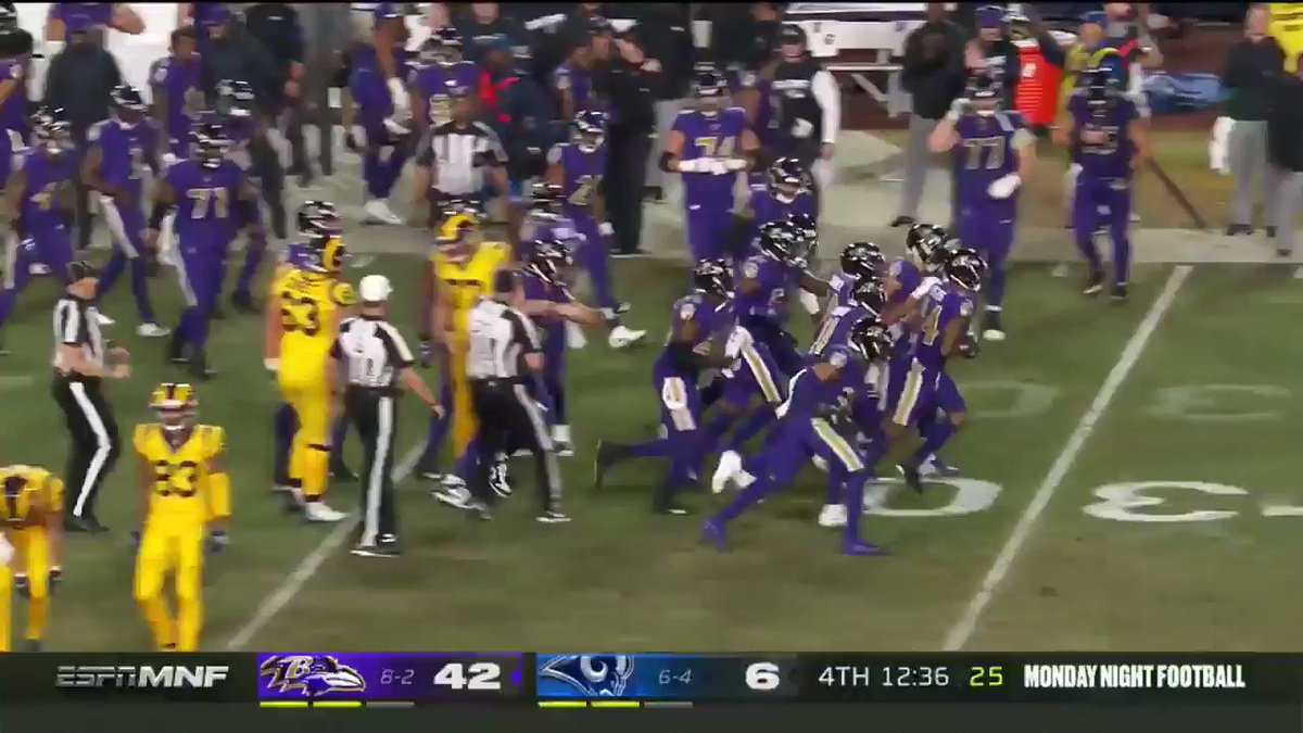 Every Raven in history came out to celebrate Marcus Peters interception against his former team