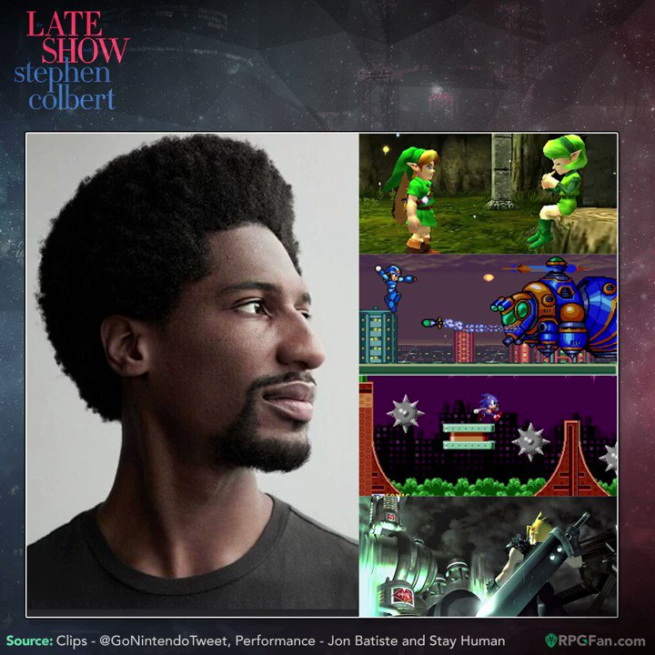 Its a poorly kept secret that Jon Batiste & Stay Human (the in-house band on Colberts Late Show) are game geeks. Enjoy these small segments, theyre so good and so short! 😩👍 @JonBatiste, will we ever see a VGM cover album? ♫@MateriaColl @ocremix #FF7R #zelda #sonic #megaman