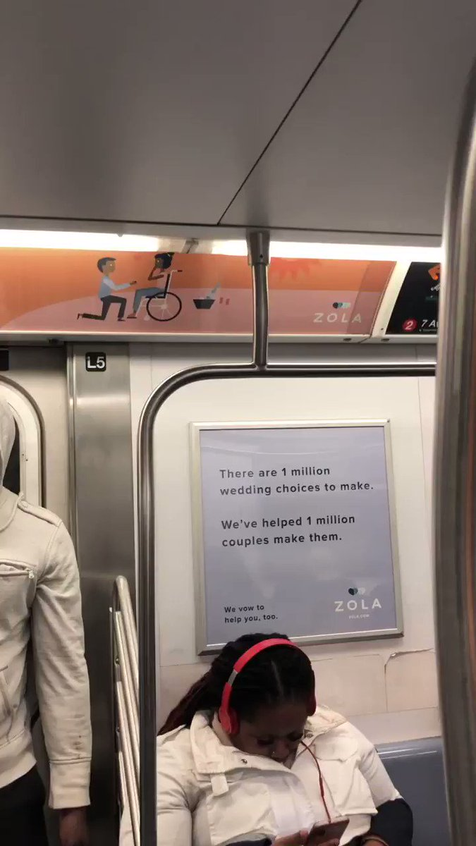 If you are in the New York City and taking the metro look up. My sister used her position to create change. The new Zola ads have a Inter-able couple! I'm crying just knowing millions of commuters will see this. Representation is so beautiful.
