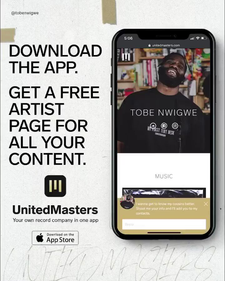 """The only """"link in bio"""" you need.   Download the UnitedMasters app and share your music with the world: https://untd.io/t/uaexij"""