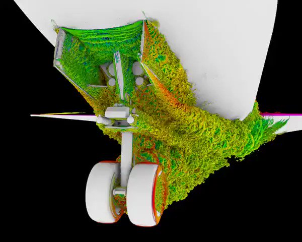 Turbulent air flow around the landing gear of a Boeing 777X. This took over 1 million processor hours to simulate.  SC17 demo: https://t.co/HZANjCoxWi https://t.co/y82FNEB5GV