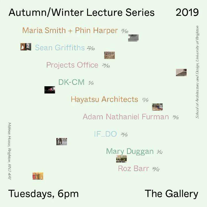 A reminder that this week's Public Lecture will be given by @duggan_mc. Thoughts on Practice starts at 6pm in The Gallery at Mithras House. Open to all! @uniofbrighton #SoAD