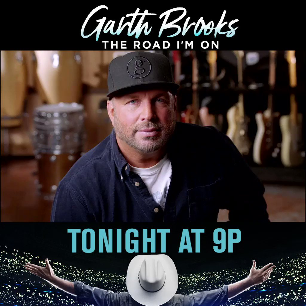 TONIGHT at 9pm watch the story of the 🎸 legend @garthbrooks on the premiere of a special two night event Garth Brooks: #TheRoadImOn. #GarthBio