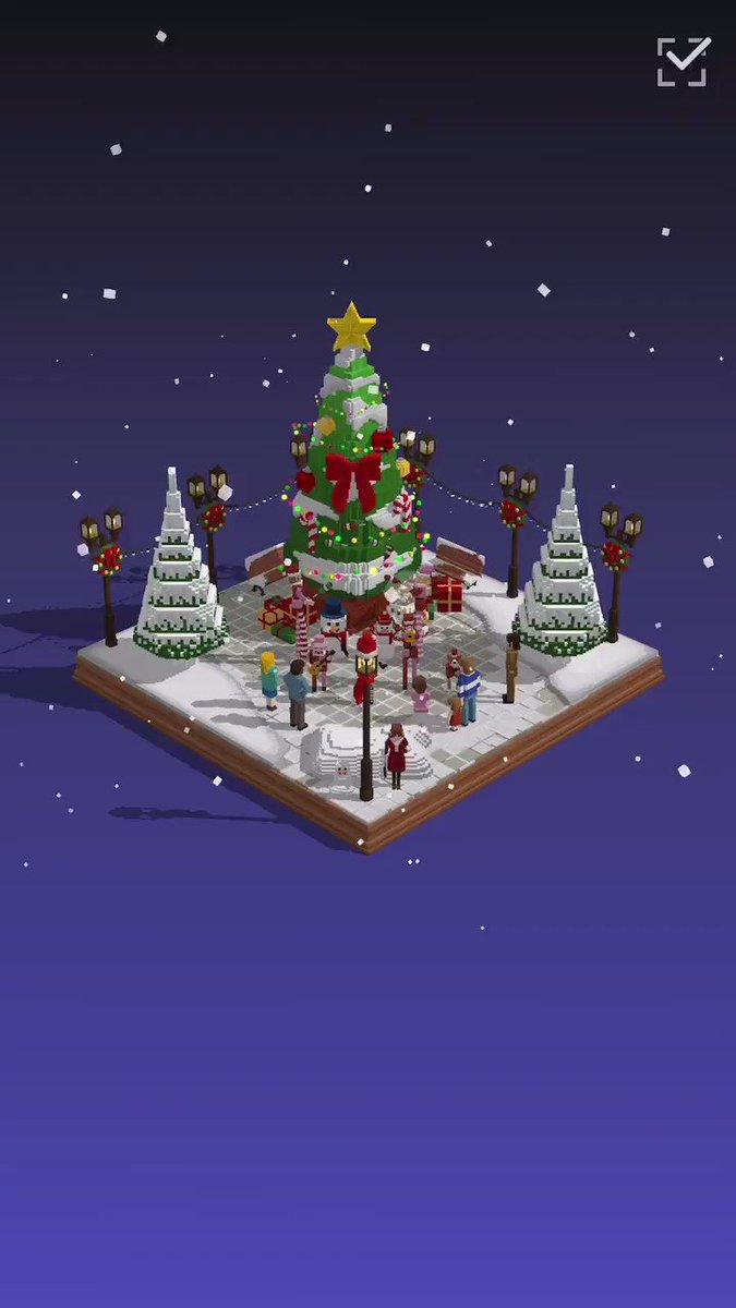 #Puzzrama started Christmas event🎄I made a diorama for christmas.#パズラマ でクリスマスジオラマ作った🌟♫TikTok#voxel #gamedev #voxelart