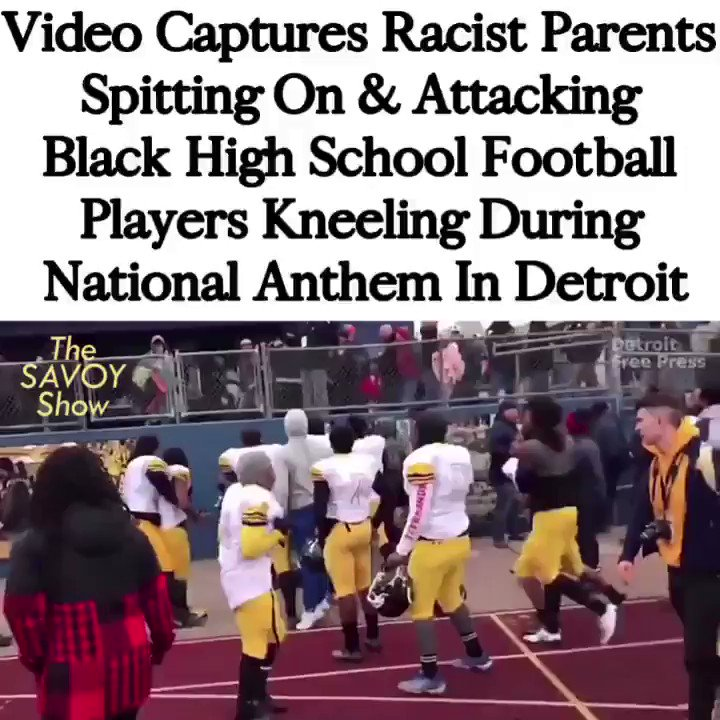 Racist parents attacked, spit on, and threw food at black children for kneeling during the national anthem & none of the got arrested for it.
