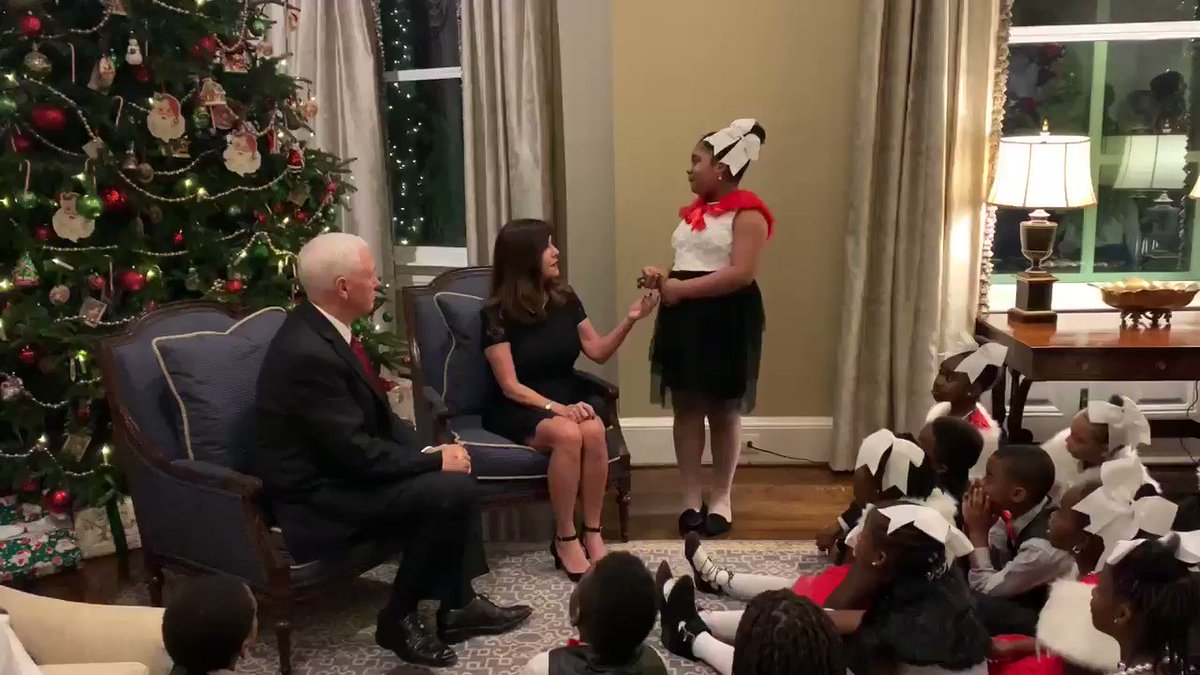 What a wonderful night! It was our pleasure to host 3rd grade students from @eagleacademypcs  at the @VP  Residence to kickoff the Christmas season with our annual tree lighting! ✨