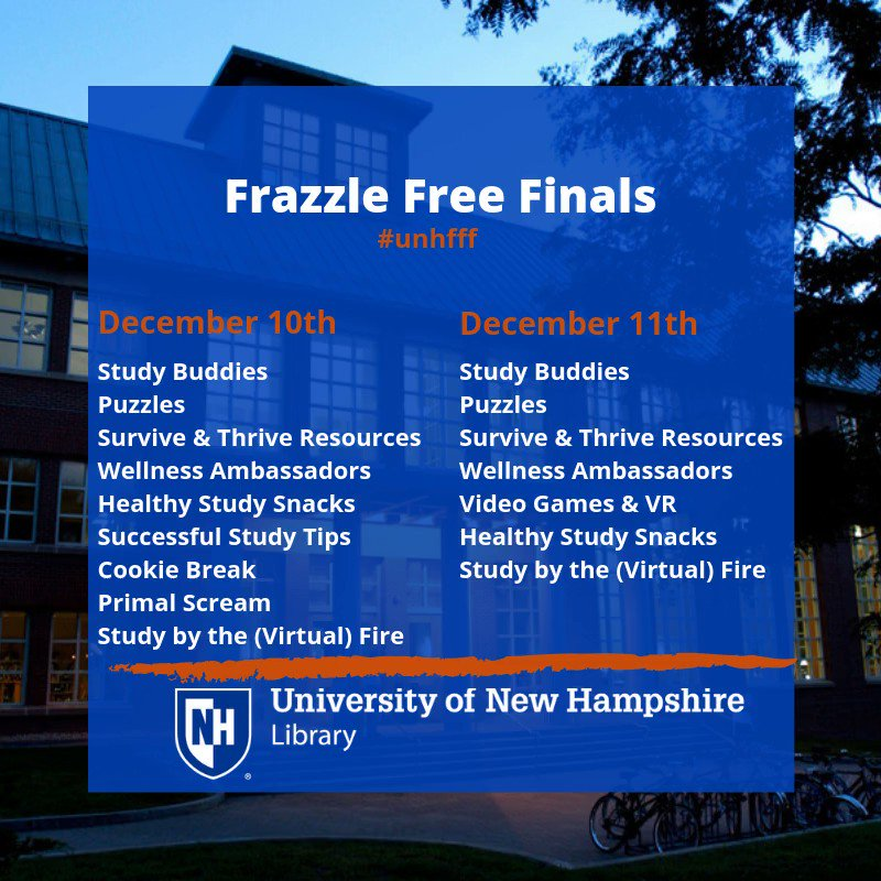 One week left Wildcats! Frazzle Free Finals begins next Tuesday December 10th here in the UNH Library, come and join us to relieve some of the finals stress! #UNHLibrary #ThisIsUNH #unhfff #finals