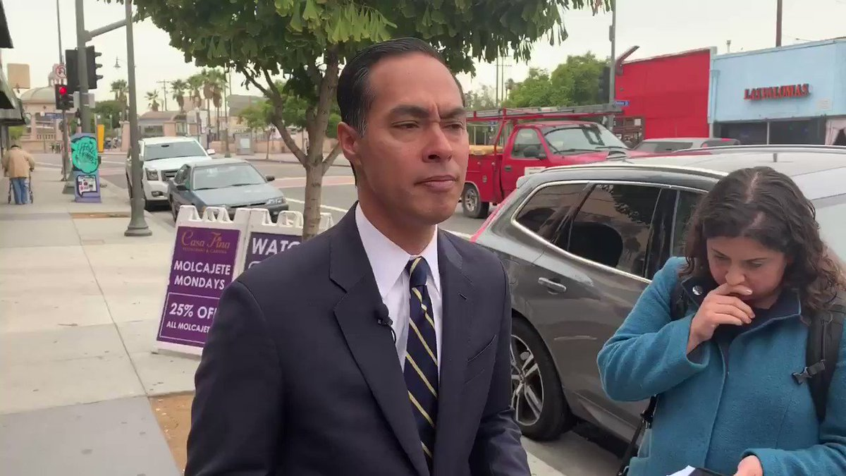 """With @KamalaHarris out, the debate stage is now all white. @JulianCastro responds:""""What we're staring at is a DNC debate stage with no people of color on it. That does not reflect the diversity of our party or our country. We need to do better than that."""""""