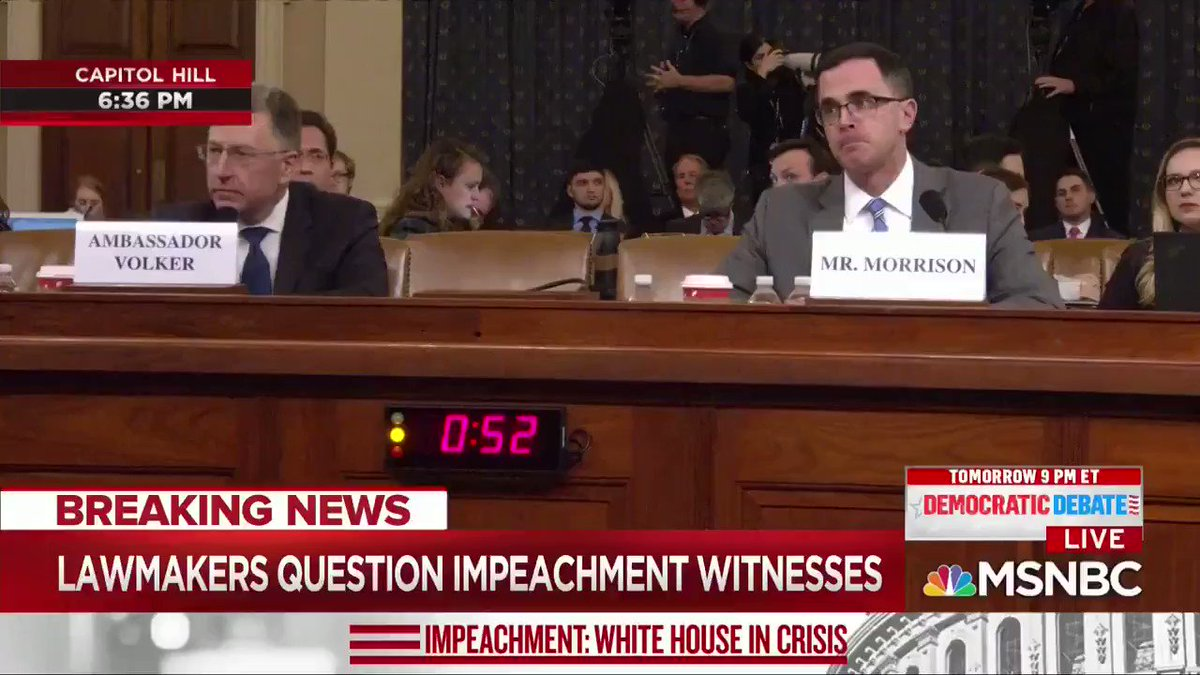 """Additionally, Tim Morrison, Vindman's SUPERIOR, testified and directly undermined Vindman's interpretation. Morrison says there was NO """"demand"""" at all."""