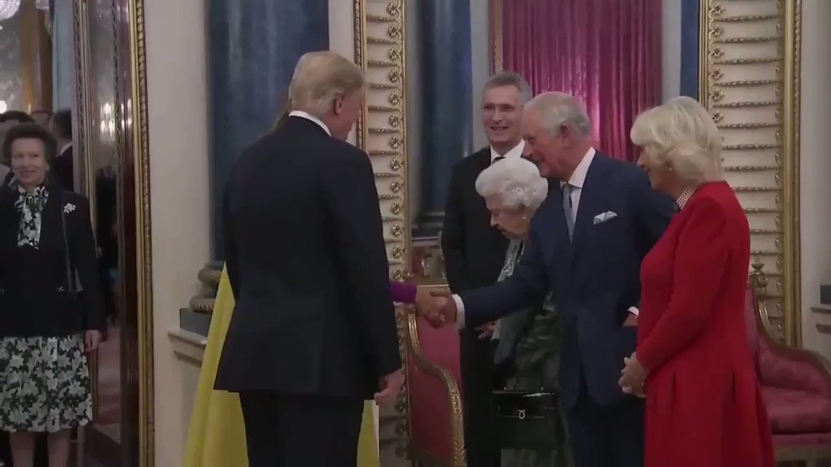 Princess Anne side-eyeing the Trumps. The Queen scolds her for not being in the royal receiving line and she simply shrugs. #Trump #NATOSummit #BuckinghamPalace #NATO70 #TheCrown #Royalfamily #PrincessAnne