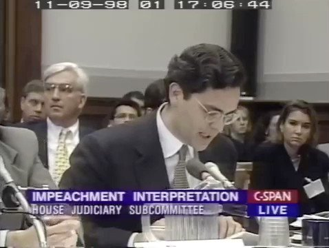 "Today's Republican witness Jonathan Turley opposes impeaching Trump, yet he supported impeaching Bill Clinton in 1998.Here's what he told Congress back then: ""If you decide that certain acts do not rise to impeachable offenses, you will expand the space for executive conduct."""